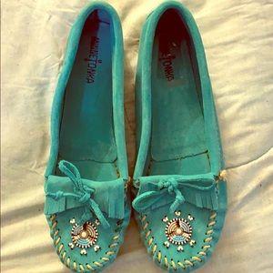 Minnetonka Teal Slippers (Moccasins)